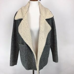 Zara Knit Faux Sherpa Collar Chunky Sweater Coat